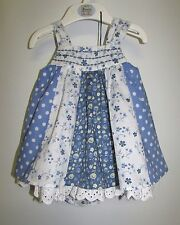 BABY GIRL'S DRESS & KNICKERS  0-3 MONTHS MARKS & SPENCER 100% COTTON BLUE MIX