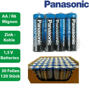 120 x Panasonic R6 AA Mignon Batterie GENERAL PURPOSE 1,5V - Folie- Zink Kohle