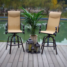 Pebble Lane Living Sorrento Swivel Sling Barstool Patio Chairs, Beige, Set of 2