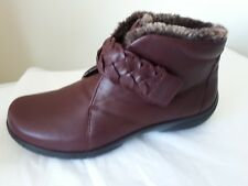 c7f7e88ecee NEW HOTTER DAYDREAM BURGANDY LEATHER ANKLE BOOTS SIZE UK 6.5 EXF FITTING