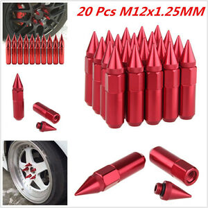 -XNRed Spiked Extended Tuner 60mm Lug Nuts Wheels / Rims M12X1.25 Aluminum 20pcs