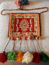 VINTAGE AFGHAN FESTIVAL PERSIAN CARPET BAG SHOULDER  WAIST POM POMS HIPPY CHIC