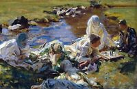 Dolce Far Niente by American  John Singer Sargent. Canvas Life Art. 11x17 Print