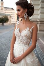 New White/Ivory Lace A-Line Wedding Dresses Bridal Gown Custom Size