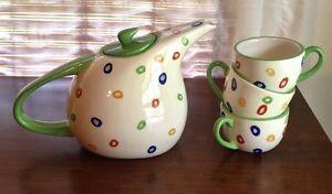 BHG Ceramic Tea Set Ceramic Teapot W/ 3 Matching Tea Cups Polka Dots EXCELLENT!!