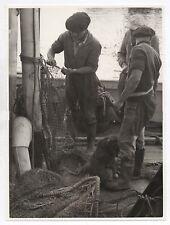 PHOTO ANCIENNE Pêche professionnelle Filet Pêcheur Vers 1950 Bateau de Béret