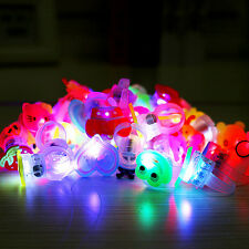 10*Kids Cartoon LED Flashing Glowing Finger Rings Christmas Fun Toys Game Gifts