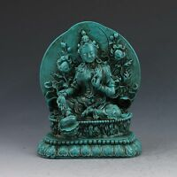 Chinese Antiques Turquoise Hand-carved Green Tara Buddha Statue