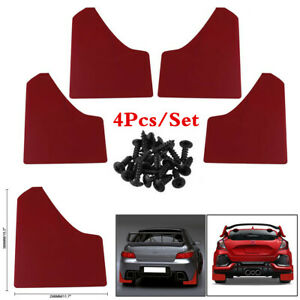 1 Set Red Plastic Car Mud Flaps Splash Guard Fender Mudguards Protection 4Pcs