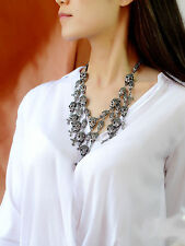 Necklace Silver Black Short Cobblestone Skull Tassel Fringe Cross ACE 1