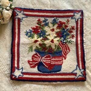 "All American floral stars wool needle point velvet pillow cover sham 16""x16"""