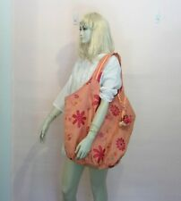 Boho Handmade Pink Orange XL Silk Linen Beach Bag Overnight Tote