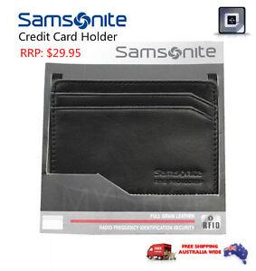 Samsonite RFID Blocking Protected Leather Credit Card Holder BLACK -67T007