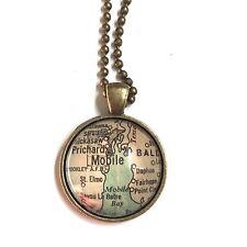 MOBILE ALABAMA USA PRICHARD BALDWIN Map necklace pendant bronz f04 ATLAS