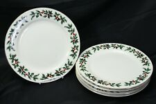 """Baum Bros Formalities Holly Collection Dinner Plates 10.5"""" Lot of 5 Christmas"""