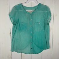 We The Free Free People Womens Green Size Medium Button Down Blouse Top