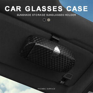 Car Sunglasses Case Holder Sun Visor Clip-on Glasses Storage Box Organizer ^&