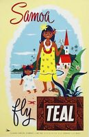 "Vintage Illustrated Travel Poster CANVAS PRINT Samoa fly Teal 24""X18"""