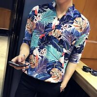 Mens Short Sleeves Shirts Floral Printed Leisure Korean Style Slim Fit Tops