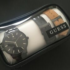 GUESS Mens Black Classic Interchangeable Wardrobe 3pcs Watch Set U0726G3 Diamond