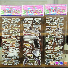 3PCs Lot Cartoon Gun Rifle Firearm PVC Scrapbooking Stickers Children Xmas Gifts