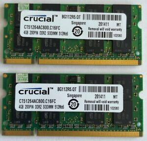 Crucial 8GB 2 X 4GB PC2-6400s DDR2-800 200pin SODIMM Laptop Memory RAM Upgrade 1