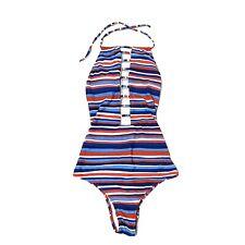 Volcom Sz S Swimsuit One Piece Red White Blue Open Back Bathing Women's $79.5