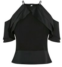 coast mini ruffle top black Going Out Top UK 10 RRP £69 #46
