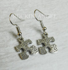 Antique Silver Plated Autism Style Puzzle Piece Earrings Awareness Ladies Gift