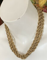 """Vintage Monet Gold Tone Long Nested Multi Link Chain 54"""" Necklace"""