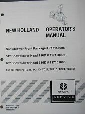 New Holland Operator's Manual for snowblower front package 87026634 December 02