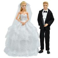 Handmade Doll Clothes Wedding Dress Gown + Formal Suit For Boy and Girl Dolls S