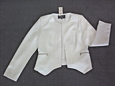 TEMT: Size: 12-14. Modern White/Off-White, Fully-Lined, Open-Front, L/S Jacket