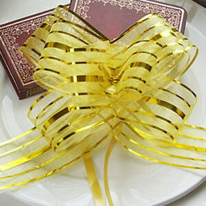 10pcs 50mm Organza Ribbon Pull Bows Wedding Car Decoration Gift Wrap Colourful√