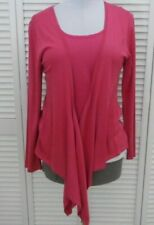 TERRY LEWIS OPEN CARDIGAN Large size 14 Fuchsia Pink SILK Long Sleeve NEW