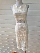THURLEY Cream Crochet Lace Sleeveless Midi Party Evening Dress - Size 10