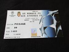 ticket billet football AS MONACO  AEK ATHENES 2003 COUPE EUROPE CHAMPIONS LEAGUE
