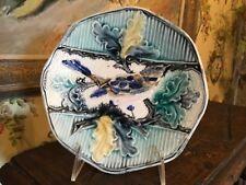 French Majolica Plate Bird Design Old Majolica
