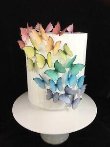 Butterfly Cake Decoration Rainbow Rice Paper Birthday DIY Princess 20pc Edible