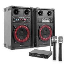 HIFI stereo Karaoke Anlage PA Lautsprecher Boxen USB SD Mp3 Player 2 Funk Mikro