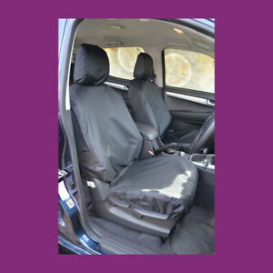 Isuzu D-Max 2012-2021 Black Waterproof Tailored Pair Front Seat Covers UK MADE
