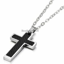 "Black Carbon Fiber Silver Stainless Steel Cross Men's Pendant Necklace 21"" Chain"