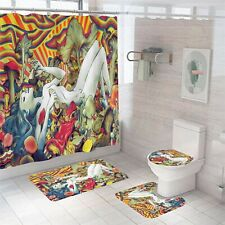 Mushroom Girl Bathroom Rug Set Shower Curtain Thick Toilet Lid Cover Bath Mat