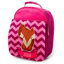 PERSONALISED Lunch Bag CUTE FOX Insulated Pink School Girls Snack Box NL004