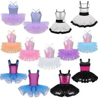 Girls Ballet Dance Dress Sequins Tutu Leotard Skirt Dancewear Ballerina Costume
