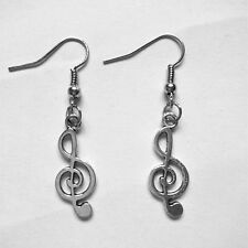 NEW Musical note / Treble clef - Tibetan Silver Earrings gift