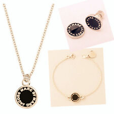 NEW FASHION MARC NECKLACE EARRING BRACELET BLACK GOLD SET #S002
