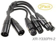 0.3M Adapter Kabel 3 Polig XLR Stecker zu Doppelt 2 Buchse Y Splitter 16awg