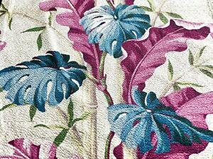 SALE! Island Monstera Leaf Barkcloth Vintage Fabric Drape Curtain 1930's Home