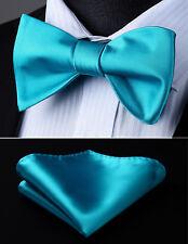 Hisdern Mens Woven Blue Aqua Solid Self Bow Tie Pocket Square Set#BL201Q2S